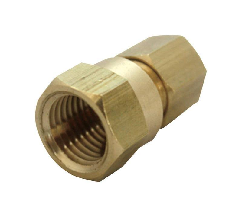 "JMF 4503462 Lead Free Compression Adapter - Yellow Brass, 3/8"" x 3/4"""
