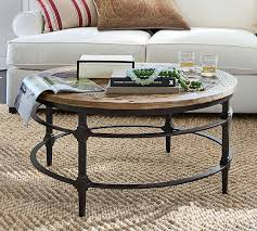 Parquet Reclaimed Wood Round Coffee Table Pottery Barn Regarding