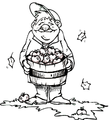 Fall Coloring Book Pages Autumn Apple Picking Page Leaves And Apples
