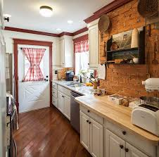 Kitchen Exposed Brick Backsplash Red Classic Wall Rustic Wooden Dining Table White Fabric Rectangle