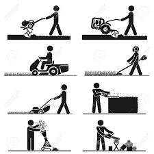 Pictograms representing people doing field and backyard jobs with machines Stock Vector