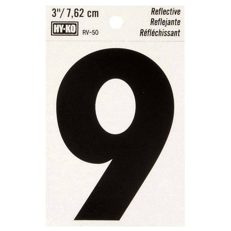 Hy-Ko Vinyl Self-Stick Reflective Number 9 - Black, 3""