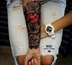 Tattoo Black Flowers Red Heart Female Arm