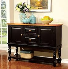 Furniture Of America CM3431SV Mayville Black And Antique Oak Server Dining Room Buffet