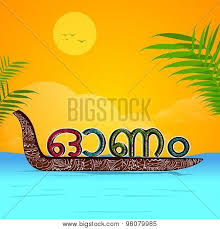 Floral Design Decorated Snake Boat With Colorful Malayalam Text Onam On Beautiful Nature Background Poster