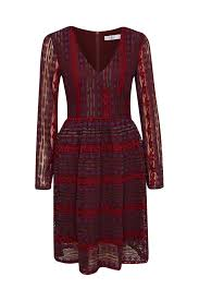 burgundy lace dress with long sleeves by kala fashion kala