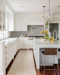 grey marble herringbone backsplash transitional kitchen