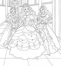 Girls Coloring Pages Barbie Three Princess