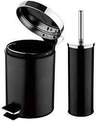 2 tlg edelstahl bad set schwarz wc bürste abfalleimer 3 liter toilettenbürste bürstengarnitur toilettengarnitur kosmetikeimer