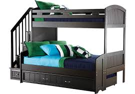 cottage colors black twin full step bunk bed with trundle full