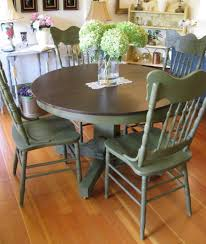 Shabby Chic Dining Room Furniture Uk by Shabby Chic Farmhouse Dining Table With Four Multicoloured Chairs