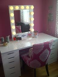 white painted pine wood makeup table with ornate pink upholstered