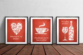 ON SALE Set Of 3 Kitchen Prints White Red Decor