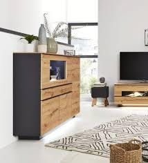 interliving wohnzimmer serie 2103 highboard 560713 mit beleuchtung schieferschwarzer lack asteiche zwei türen zwei sc