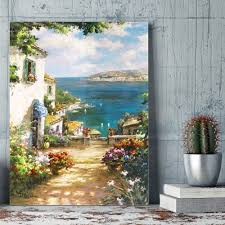 DIY Number Painting Mediterranean Aegean Sea Art Canvas For Dining Room Wall Decor Paint By Numbers Coloring