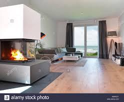 modernes wohnzimmer mit parkettboden sofa kamin und blick