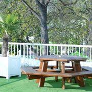 round picnic tables attached benches home pinterest