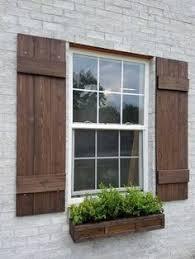 Shutters Custom Board And Batten Shutter Cedar Farmhouse Wood Rustic Exterior Stained