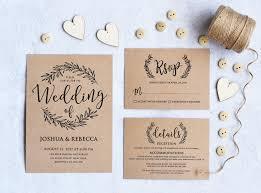 Kraft Wedding Invitation Printable Rustic