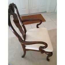 Two Identical Dining Arm Chairs Carved Wood Back And Legs Cut Plant Patterned Fabric