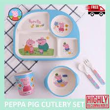 original peppa pig children cutlery set plate bowl spoon fork cup safe material