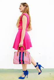 the joy of fashion pink dress and blue heels