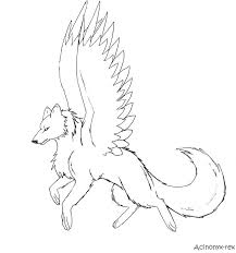 Printable Coloring Pages Gt Winged Wolf