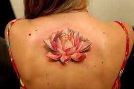 Pink And White Back Lotus Tattoo