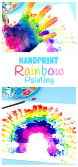 HANDPRINT RAINBOW PAINTING Is A Fun Sensory Art Experience For Kids Get Hands