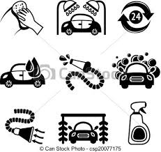 Car wash icons black and white Car wash black and white