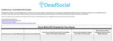 Free Social Media Will Template