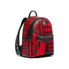 MCM Stark Baroque Print BackPack MMK6AVE59RU Ruby Red Color