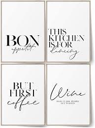 blckart premium küchen poster set stilvolle küche bilder wandbilder mit sprüchen esszimmer poster deko coffee wine a4 ohne rahmen
