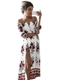 off shoulder floral printed high slit maxi dress azbro com