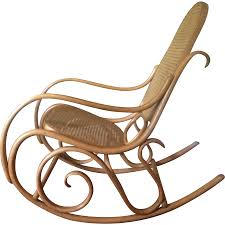 1960s Thonet Bentwood Rocker With Caned Back & Seat Antique ...