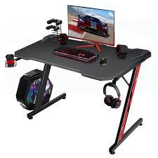 homall gaming tisch 110 cm schreibtisch z form computertisch ergonomischer pc tisch mit getränkehalter und kopfhörerhalter spieltisch für spieler
