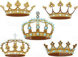 Set Of Five Golden Crowns Royalty Free Stock Vector Art