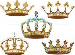 Set Of Five Golden Crowns Royalty Free Stock Vector Art