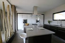 cuisine avec grand ilot central grand ilot de cuisine cuisine design gris clair et bois avec
