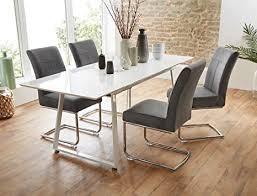 tischgruppe esstisch armin weiß hochglanz 4 stühle fabio