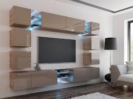 wohnwand edge cappuccino hochglanz sonoma eiche mediawand medienwand design modern led beleuchtung mdf hochglanz hängewand hängeschrank tv wand