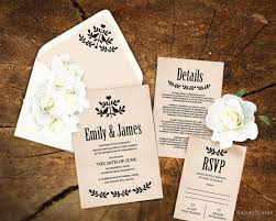 Editable Rustic Wedding Invitation Template Printable Rsvp Card DIY Envelope Liner