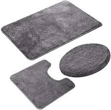 jian ya na 3 teiliges badezimmerteppich set rutschfester mikrofaser zottelig weich badematte toilettensitzbezug grau