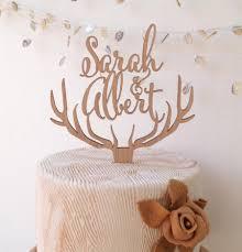 Wedding Cake Topper Personalized Deer Antler Rustic Wooden Antlers Custom
