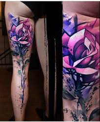 Purple Abstract Geometric Rose Leg Tattoo
