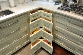 Pretty Corner Kitchen Drawers With L Shaped Cabinets Designs Added White Marble Countertops As Small Space Ideas