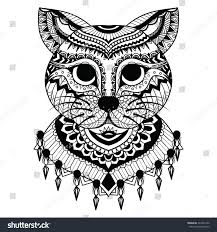 Clean Lines Doodle Art Of Cute Cat For Coloring Book Adult Cards T