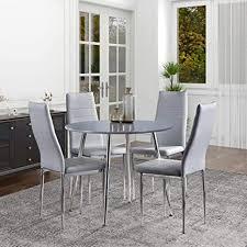 goldfan runder esstisch mit 4 stühlen moderner hochglanz esstisch rund holz esszimmerstuhl leder für esszimmer küchen wohnzimmer grau grau