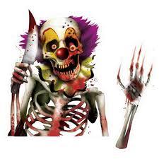 Carnival Scene Setters Halloween by Halloween Creepy Carnival Circus Killer Clown Car Window Cling