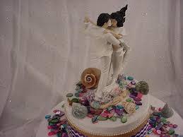 Mermaid Bride Summer Beach Wedding Cake Toppers Custom White Clothes Black Hair Couple Groom First Dance Tropical Sand Ocean Fish 2B